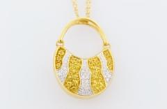 Sapphire and Diamond Purse Pendant, Set in 18k Yellow Gold