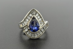 Synthetic Sapphire with Cubic Zirconia set in Sterling Silver Ring