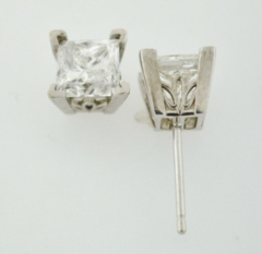 2.12ct tw Princess-cut Diamond Studs