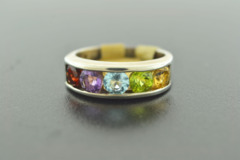 Sterling Silver Multi-Colored Gemstone Ring
