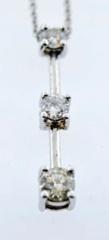3 Stone Diamond Pendant, Set in 14k White Gold
