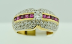 Diamond and Ruby Ring, Set in 14k Yellow Gold