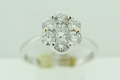 Cluster Round Diamond Ring, Set in 14k White Gold