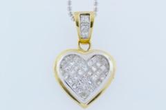 Invisible Set Diamond Pendant, Set in 14k Two Tone Gold