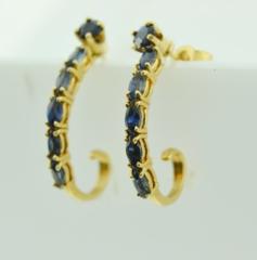 J-Hoop Sapphire Earrings in 14k Yellow Gold