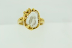 Natural Biwa Pearl Ring, with Round Diamonds Set in 18k Yellow Gold