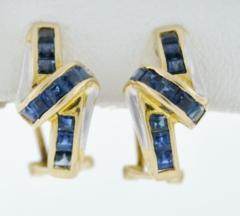 Blue Sapphire Earrings, in 14k Yellow Gold