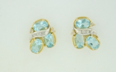 Blue Topaz and Diamond Studs, in 14k Two Tone Gold