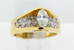 Passover Style Engagement Ring, Set in 14k Yellow Gold