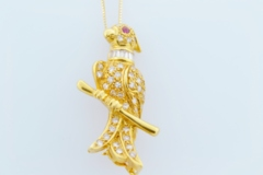 Parrot Brooch/Pendant, Set in 18k Yellow Gold