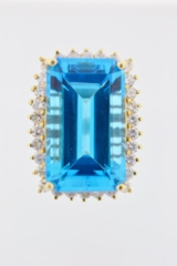 Blue Topaz and Diamond Halo Ring, in 14k Yellow Gold