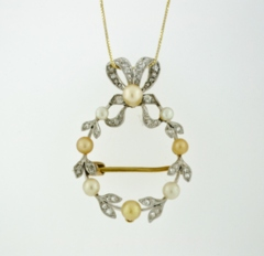 Pearl and Diamond Pendant/Brooch, in 18k Yellow Gold
