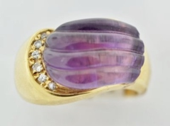 Amethyst Ring with Diamond Accents in 14k Yellow Gold