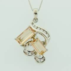 Precious Topaz and Diamond Pendant, Set in 14k White Gold