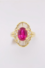 Rubellite and Diamond Ring in 18k Yellow Gold