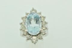 Aquamarine and Diamond Ring, in 14k White Gold