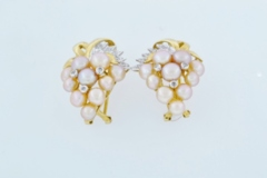 Button Pearl and Diamond Earrings, in 14k Two Tone Gold