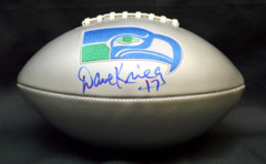 Dave Krieg Seahawks Autographed Silver Football JSA