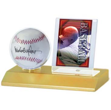 Baseball & Card Light Wood Holder