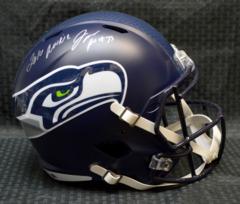 Jarran Reed Seattle Seahawks Full Size Replica Speed Helmet w/insc 2016 Rookie JSA