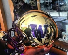 University of Washington UW Huskies Gold Mirror Full Size Replica Helmet