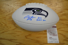 Tyler Lockett Seahawks Signed Logo Football with