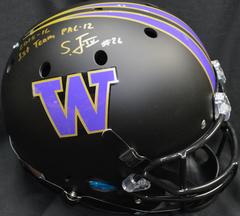 Sidney Jones Autographed Full Sized Replica Helmet UW Huskies Matte Black w/inscription