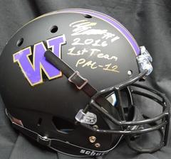Elijah Qualls Autographed Matte Black Replica Helmet UW Huskies with Inscription