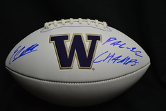 Elijah Qualls Autographed White Panel Logo Football UW Huskies