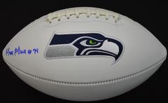 Malik McDowell Signed Seahawks White Panel Logo Football