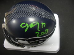 Christine Michael Seahawks Autographed Mini Helmet (Green)