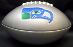 Seattle Seahawks Silver Panel Football w/Embroidered Vintage Logo Patch Unsigned