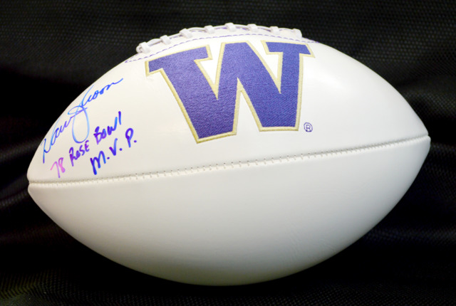 Warren Moon Signed UW Huskies Football w/ '78 Rose Bowl MVP Inscription