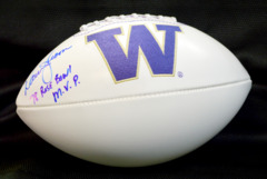 Warren Moon Signed UW Huskies Football w/ '78 Rose Bowl MVP Inscription