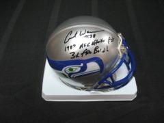 Curt Warner Seahawks Autographed Mini Helmet with 2 Inscriptions