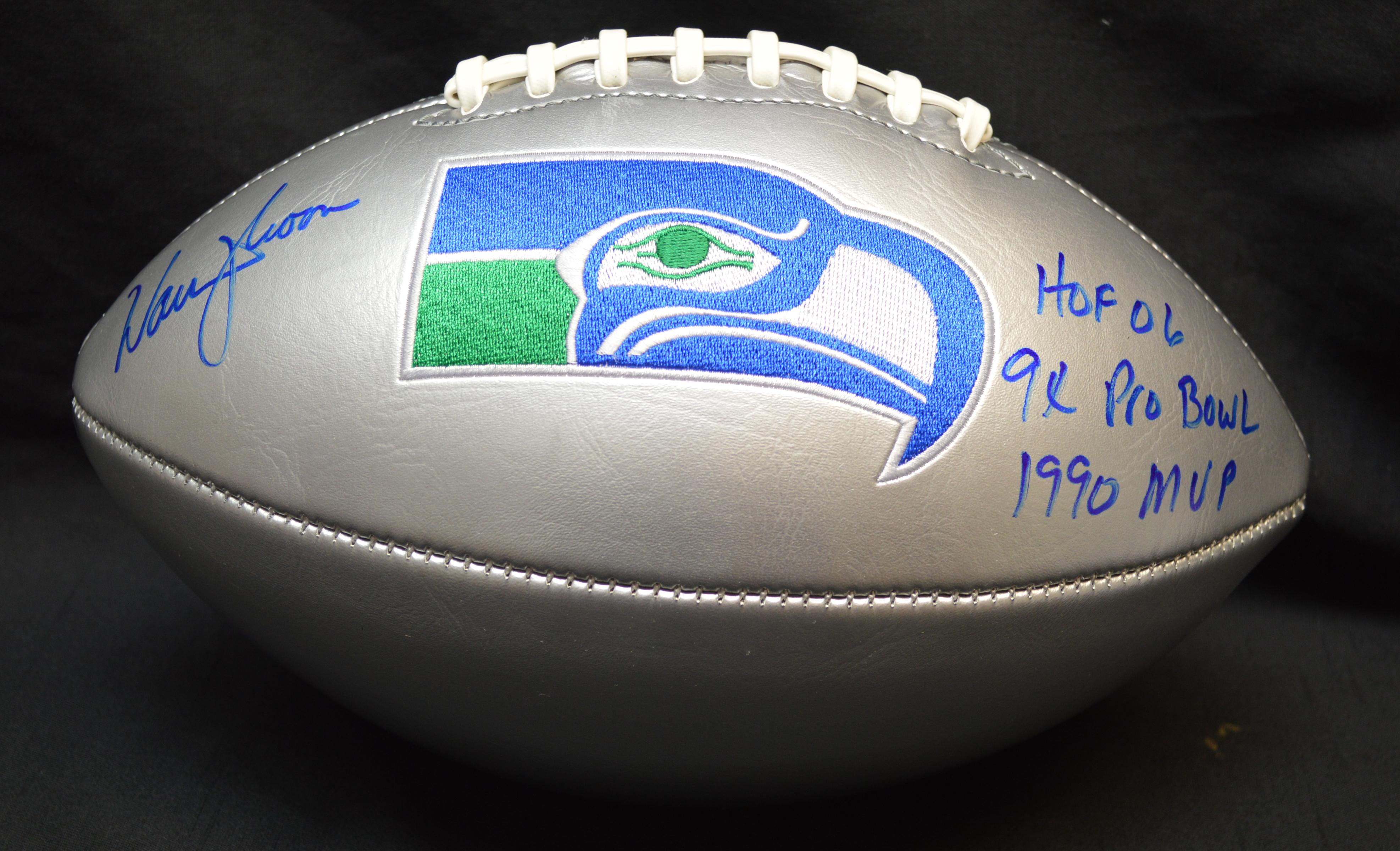 Warren Moon Signed Silver Seahawks Retro Football w/ Inscriptions