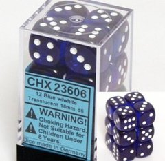 12 Translucent Blue w/white 16mm D6 Dice Block - CHX23606