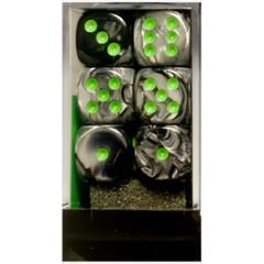 CHX26645 Black-Grey w/green D6 Dice Set