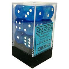 CHX27626 Sky Blue w/White D6 Dice Set