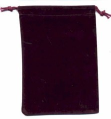 Burgundy Velour Dice Bag Large