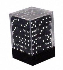 Opaque 36 Black w/White  12mm D6 Dice Block CHX25808