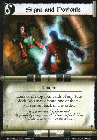 Signs and portents l5r singles for Sign and portents