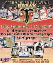 Baseball 5 Box 20 Hit Topps Triple Theads Break - Friday, September 22nd, 2017 - 6:30pm