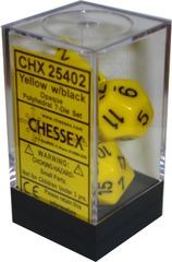 Opaque Polyhedral 7-Die Set Yellow/Black (25402)