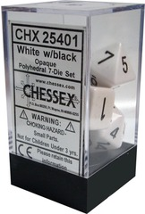 Opaque Polyhedral 7-Die Set White with Black (25401)