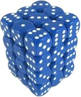 Z_Chessex 12mm D6 Opaque Blue White (CHX25806) (Discontinued)