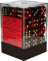 Gemini Black-Red w/Gold 12mm d6 (26833)