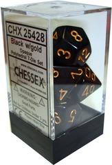 Opaque Polyhedral 7-Die Set Black/Gold (25428)