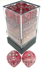 12 Pink w/ Sliver Ghostly Glow d6 dice - CHX 27724