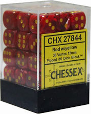 36 Red w/ Yellow Vortex 12mm D6 Dice - CHX 27844